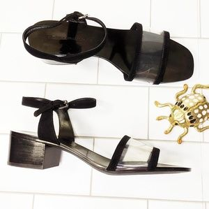 Zara Clear PVC Ankle Strap Nudist Low Block Heels